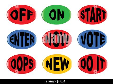 A collection of 3D buttons with various text instructions isolated on a white background - Stock Photo
