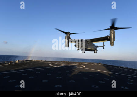 170313-N-ME988-969 MEDITERRANEAN SEA (March 13, 2017) A CV-22 Osprey assigned to Special Operations Command Europe - Stock Photo