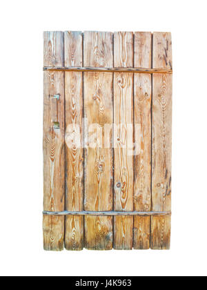 Wooden textured planks door with cracks and holes isolated on white - Stock Photo