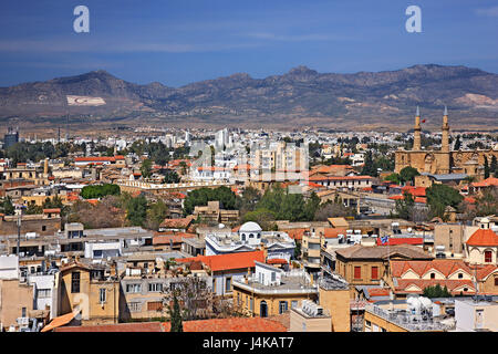 View of both sides of Nicosia (Lefkosia), the last divided capital of the world from Shacolas (or 'Siakolas') tower, - Stock Photo