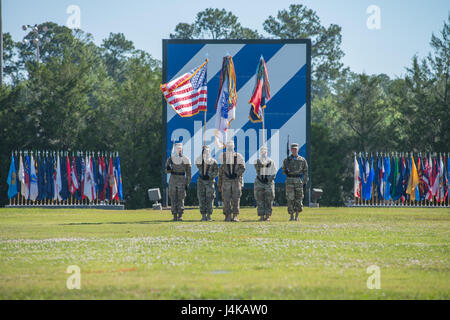 The 3rd Infantry Division color guard participates in the a division change of command ceremony held on Cotrell - Stock Photo