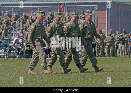 The reviewing party for the 3rd Infantry Division change of command ceremony inspects the troops May 8, 2017 at - Stock Photo