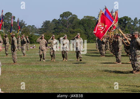 The reviewing party for the 3rd Infantry Division change of command ceremony inspects their troops May 8, 2017 at - Stock Photo