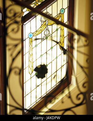 Stairwell, window, lead glazing interior shot, interior design, glass, glass art, glass picture, art, handicraft, - Stock Photo