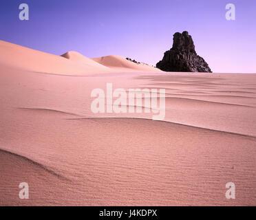 Algeria, Sahara, Tassili N'Ajjer national park, Djanet, Sand desert, bile formation Africa, desert, wild scenery, - Stock Photo