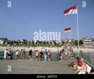 Germany, the North Frisians, Föhr, Wyk on Föhr, sea bridge, tourists Europe, North Germany, Schleswig - Holstein, - Stock Photo