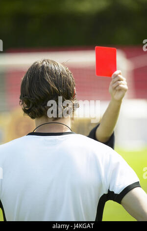 Football field, player, referee, card, red, show, eye contact, back view football match, football player, men, young, - Stock Photo