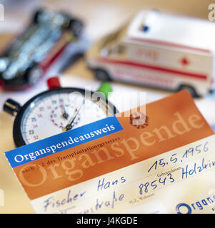 Toys cars, accident, rescue car, stopwatch, body donation identity card pressure of time, time, time execution, - Stock Photo