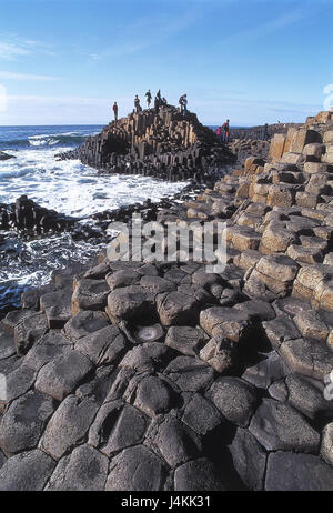 Northern Ireland, county Antrim, bile coast, Giant's Causeway, basalt pillars, tourists, sea Europe, Western Europe, - Stock Photo
