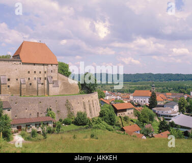 Germany, Bavaria, Tittmoning, town view, castle Europe, Upper Bavaria, town, place of interest, architecture, building, - Stock Photo