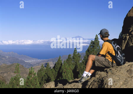 Spain, island grain Canaria, Roque Nublo, tourist, at the side, view, island Tenerife, volcano, Teide Europe, Südwesteuropa, - Stock Photo