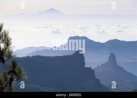 Spain, island grain Canaria, Roque Nublo, view, island Tenerife, volcano Teide Europe, Südwesteuropa, Espana, the - Stock Photo