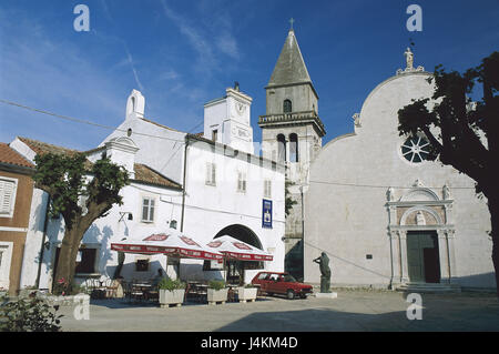 Croatia, island Cres, Osor, church, tower Europe, Southeast Europe, Balkan Peninsula, the Balkans peninsula, Republika - Stock Photo