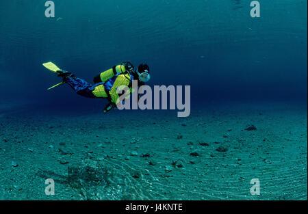 Diver, mountain lake, - Stock Photo