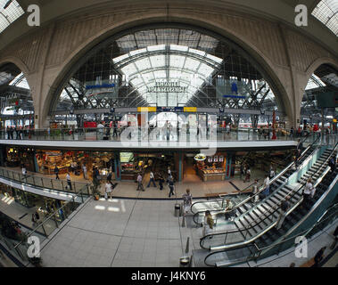 Germany, Saxony, Leipzig, central station, 'promenades', shopping arcade, escalators, passers-by town, centre, space - Stock Photo