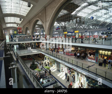 Germany, Saxony, Leipzig, central station, 'promenades', shopping arcade, passer-by town, centre, space of the republic, - Stock Photo