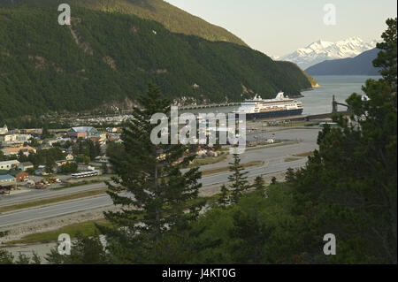 The USA, Alaska, Skagway, local view, harbour, cruise ship, Taiya Inlet North America, the United States of America, - Stock Photo