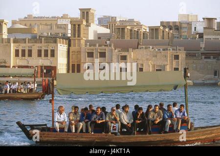 United Arab Emirates, Dubai, borer Dubai, town view, taxi boots front East, the Near East, the Middle East, Arabian - Stock Photo