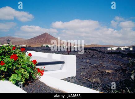 Volcanic landscape. Tahiche, Lanzarote island, Canary Islands, Spain. - Stock Photo