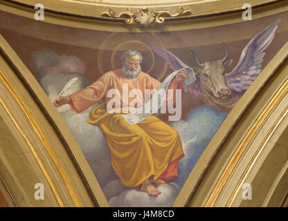 TURIN, ITALY - MARCH 13, 2017: The fresco of St. Luke the Evangelist in cupola of Church Chiesa di Santo Tommaso - Stock Photo