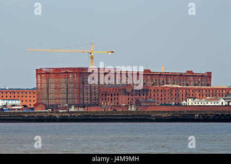 A view of Stanley Dock Tobacco Warehouse Liverpool taken from Seacombe - Stock Photo