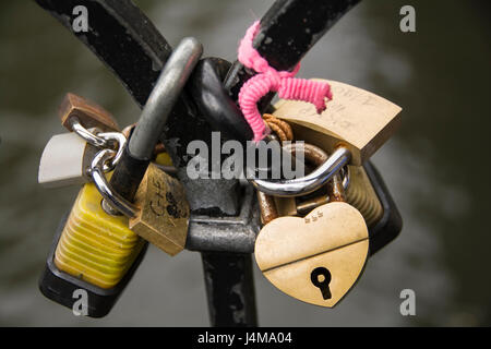 Love Locks on a bridge near Camden Market in NW1, London, UK - Stock Photo