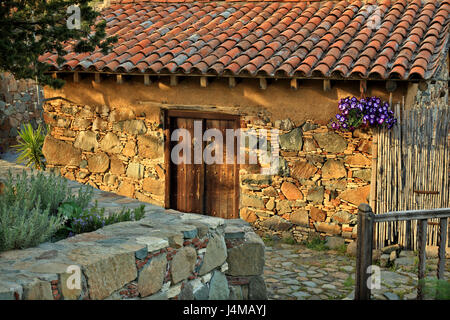 Picturesque alley in Fikardou village, one of the most beautiful and preserved mountainous villages of Cyprus, in - Stock Photo