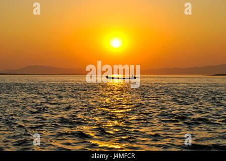 Sunset on the Irrawaddy, Bagan, Myanmar - Stock Photo