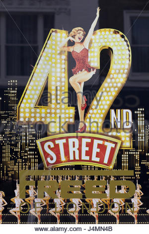 promotional poster advertising the musical 42nd Street - Stock Photo