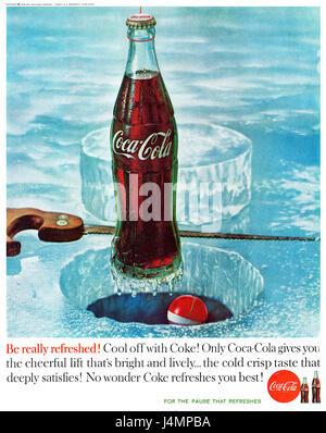 1960 U.S. advertisement for Coca-Cola. - Stock Photo