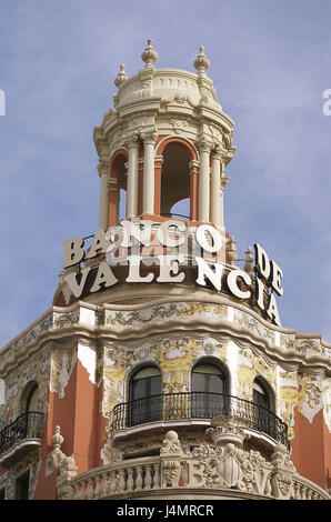 Spain, Valencia, city centre, Old Town, plaza de off Pinazo, Banco de Valencia, detail, tower Europe, Valäncia, - Stock Photo
