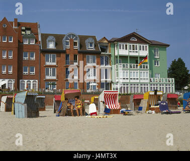 Germany, the North Frisians, Föhr, Wyk on Föhr, beach, beach chairs, tourists, Europe, North Germany, Schleswig - Stock Photo