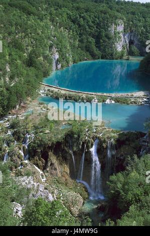 Croatia, Dalmatia, Plitwitzer lakes national park, lakes, waterfall Europe, Southeast Europe, Balkan Peninsula, - Stock Photo