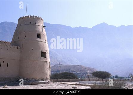 Oman, Musandam peninsula, Bukha, fort front East, the Near East, the Middle East, Arabian peninsula, sultanate Oman, - Stock Photo
