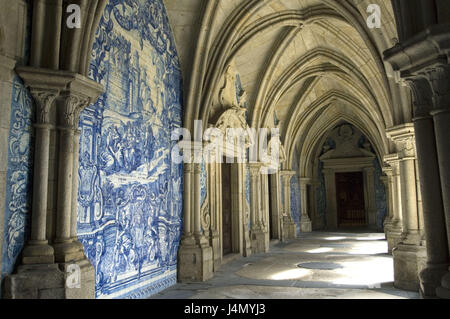 Azulejos, cloister, cathedral Se, postage, Portugal, - Stock Photo