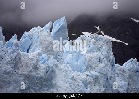 The USA, Alaska, Glacier Bay national park, Margerie Glacier, ice, mountains, fog, - Stock Photo