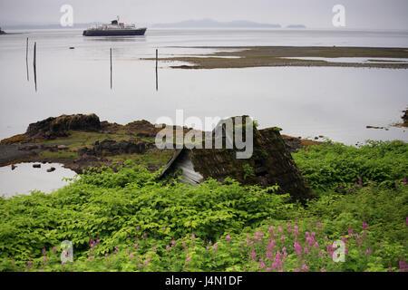 The USA, Alaska, Frederick Sound, Kupreanof Iceland, Kake, coast, steelworks, ferry, sea, - Stock Photo