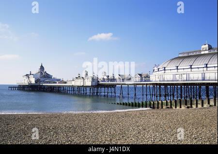 Great Britain, England, Sussex, Eastbourne, sea bridge, restaurants, south narrow country, sea, the Atlantic, pier, - Stock Photo
