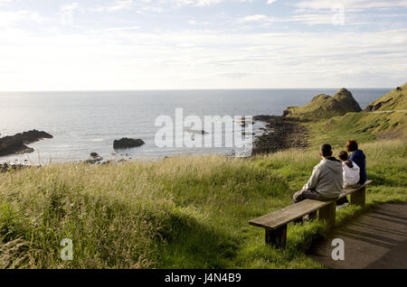 Northern Ireland, Ulster, Derry County, Antrim Coast, family, bank, scenery, - Stock Photo