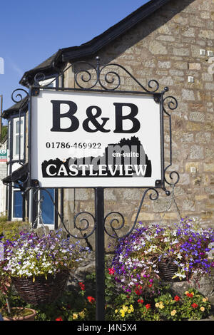 Great Britain, Scotland, Stirling, sign, Bed and Breakfast, - Stock Photo