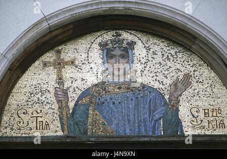 Bulgaria, Sofia, Alexander Nevski Kathedrale, input, detail, picture, mosaic, town, capital, Sofija, centre, building, - Stock Photo