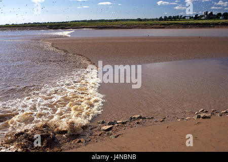 Low tide, Salmon River, truro, Cobequid Bay, Nova Scotia, Canada, - Stock Photo
