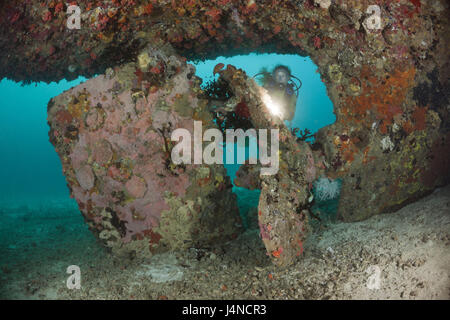 Screw of the Kuda Giri wreck, the Maldives, the south times atoll, - Stock Photo