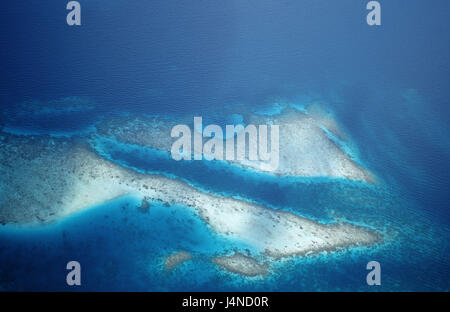 Aerial shots, coral reefs, the Maldives, - Stock Photo