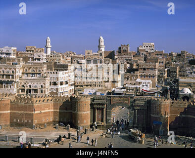 Yemen, Sanaa, Old Town, town gate, Bab al-Yaman, the Near East, capital, town, townscape, overview, town overview, - Stock Photo