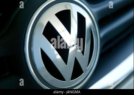 VW logo, car, VW, Volkswagen, detail, logo, make of car, car industry group, VW emblem, emblem, company logo, automobile, - Stock Photo
