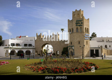 Tunisia, port El-Kantaoui, harbour gate, North Africa, town, port, El-Kantaoui, travel, vacation, tourism, tower, - Stock Photo