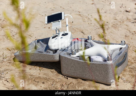 Ukraine, Kyiv 25 april 2017  box for transporting of quadcopter, stand for the management of quadcopter - Stock Photo