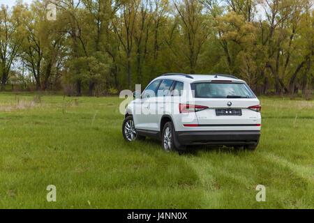 Ukraine, Kyiv 25 april 2017  car Skoda Kodiaq 2.0 TDi model year 2017 car rear view - Stock Photo