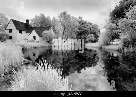 Infra Black and White Picture of Willie Lott's Cottage in Constable Country - Stock Photo